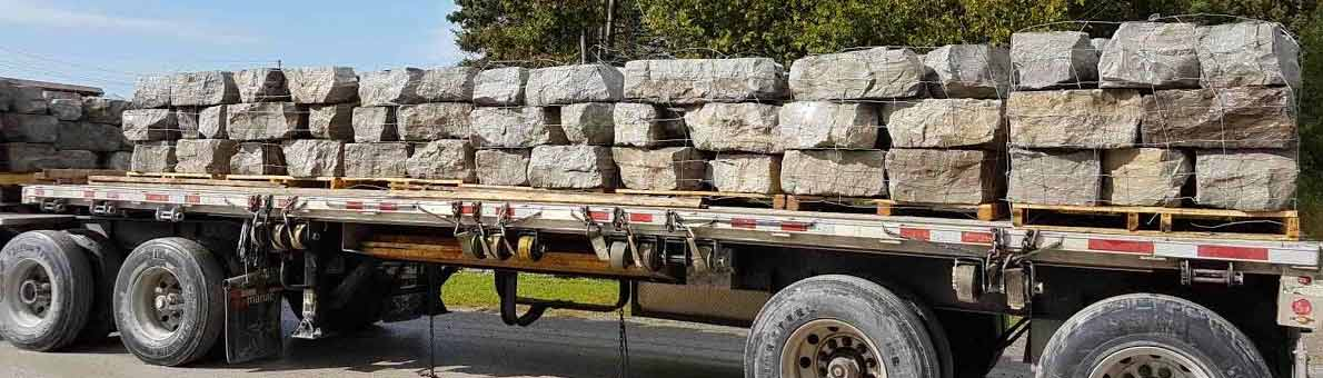 Armour stone flatbed truck daily delivery St. Jacobs