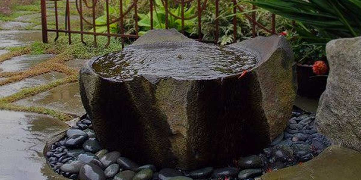 Basalt Natural Bowls Drilled rugged stone rock fountain