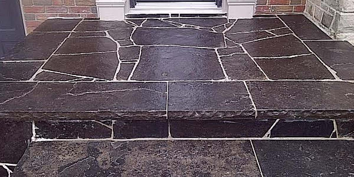 Black Marble Flamed coping and caps glossy stairs stone black