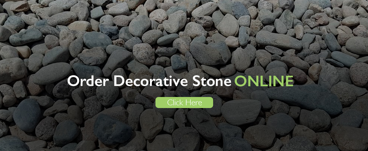 Decorative Stone section banner with plants and bed of stones