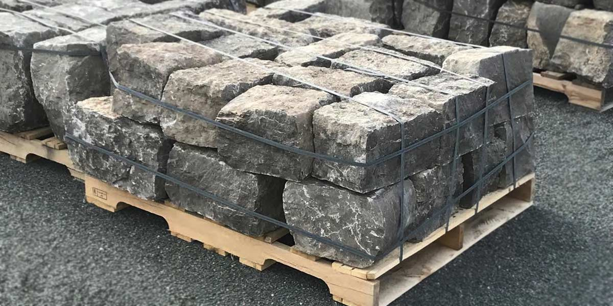 Guillotined Wallstone Kawartha Brown stones stack neatly for wall construction