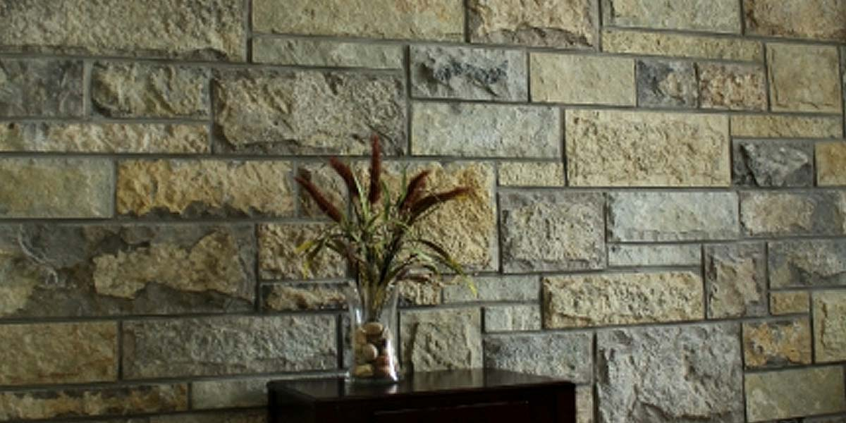 Hudson Valley veneer stone with cattails plant