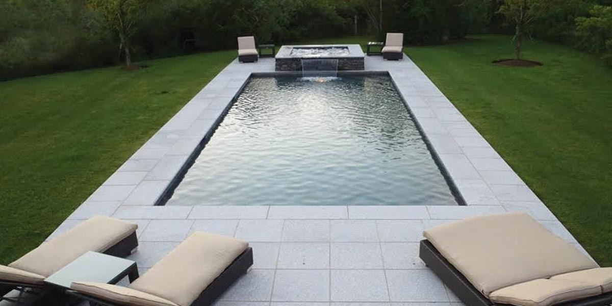 Imported Bullnose Coping around luxury pool
