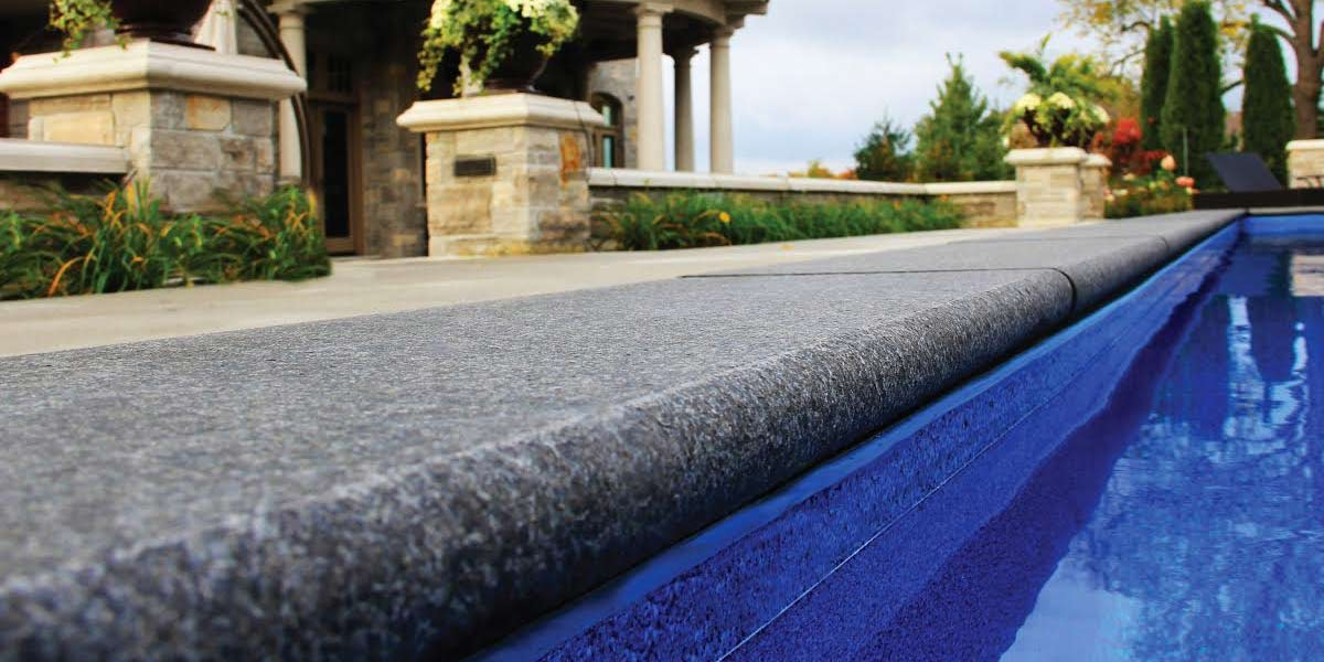 Imported Bullnose Coping jet black pool coping