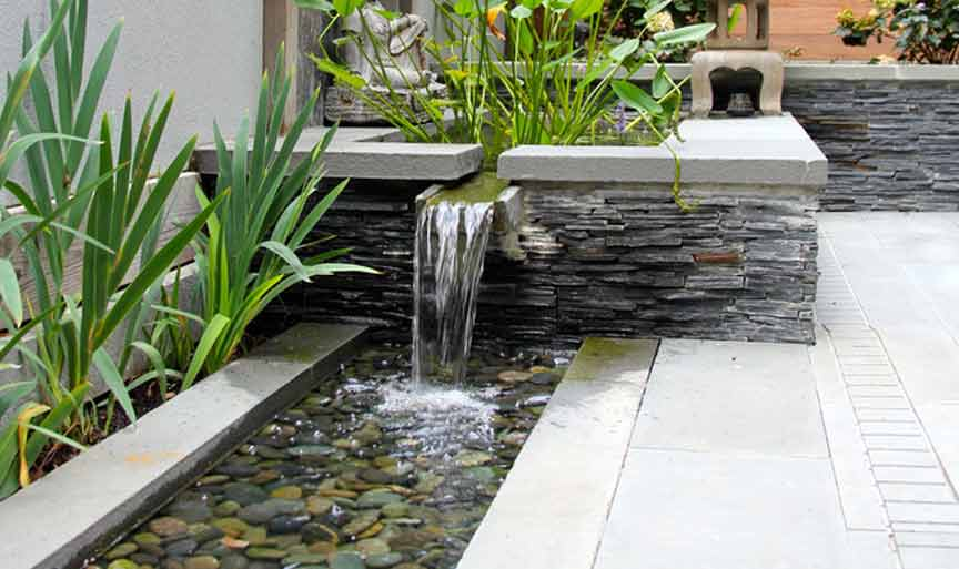 modern rock garden waterfall