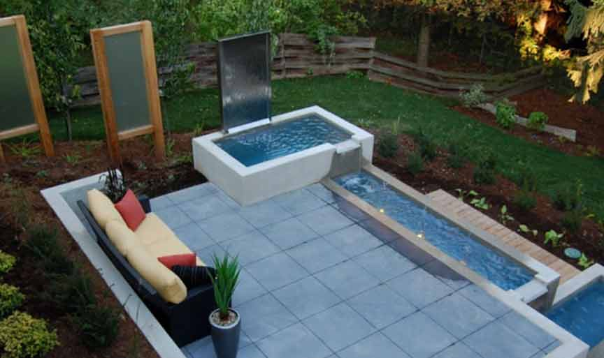 modern water backyard