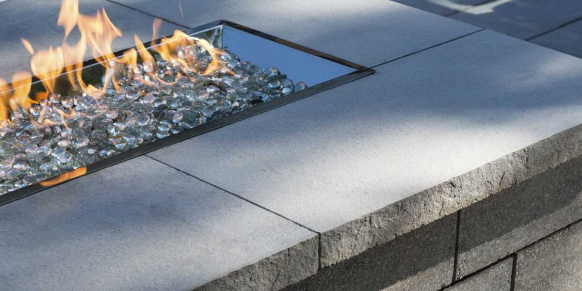 Piedimonte Coping coping and caps as glass fire pit