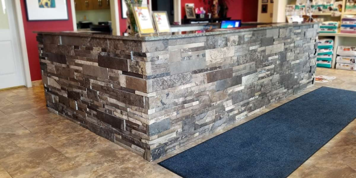 Rosemount veneer stone library reception desk