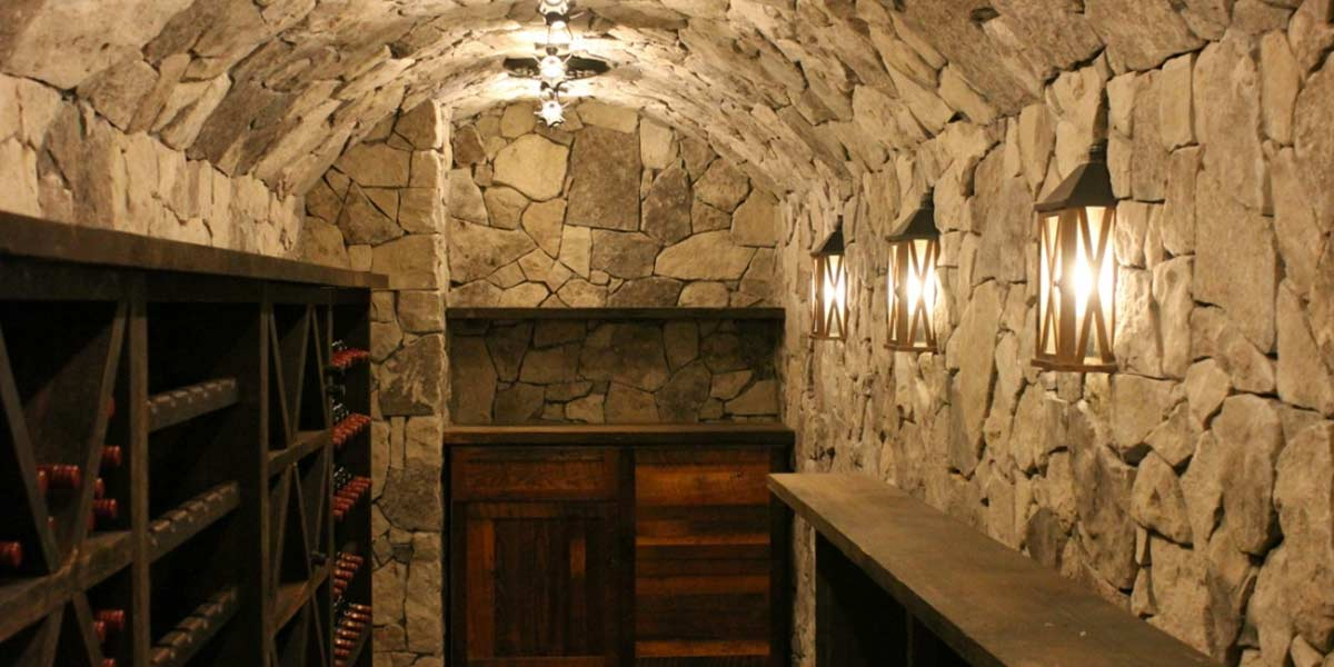 Rubble Buff veneer stone wine cellar
