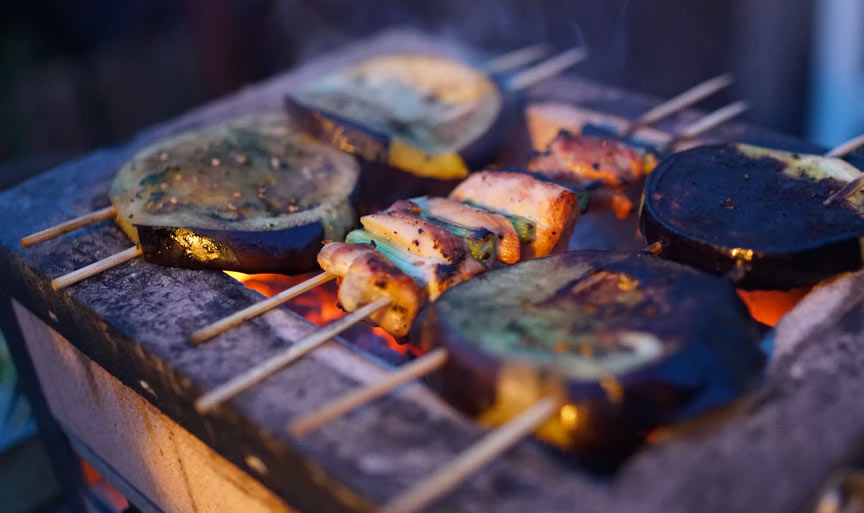 Shishkabobs on charcoal