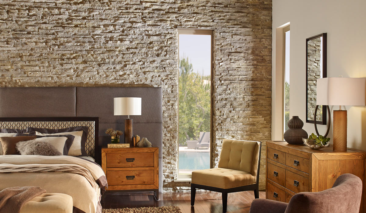 Bedroom with veneer stone