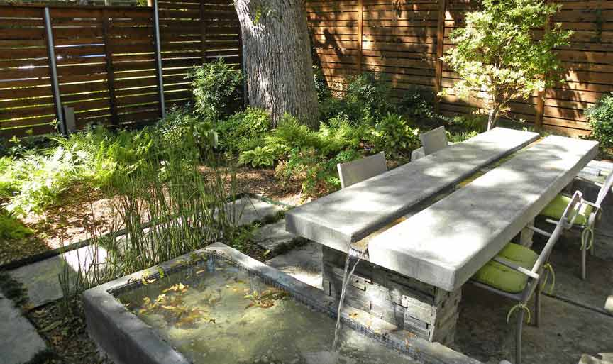 waterfall outdoor table