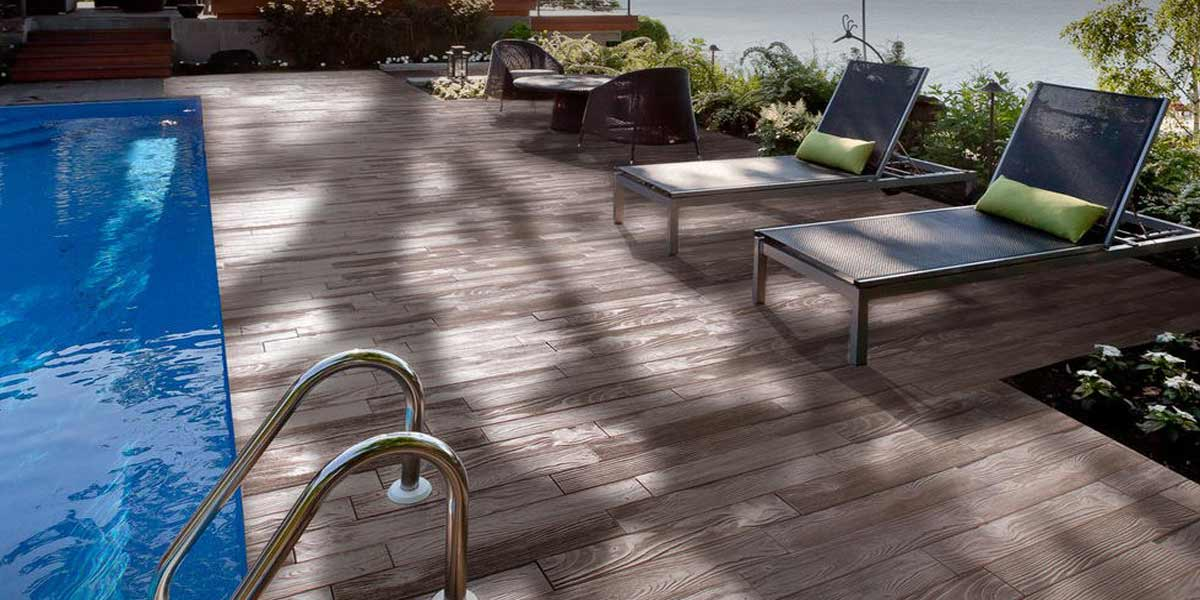 Wood appearance pool deck pavers